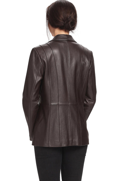 "BGSD Women's ""Crystal"" New Zealand Lambskin Leather Blazer - Plus"