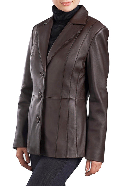 "BGSD Women's ""Crystal"" New Zealand Lambskin Leather Blazer - Plus Short"