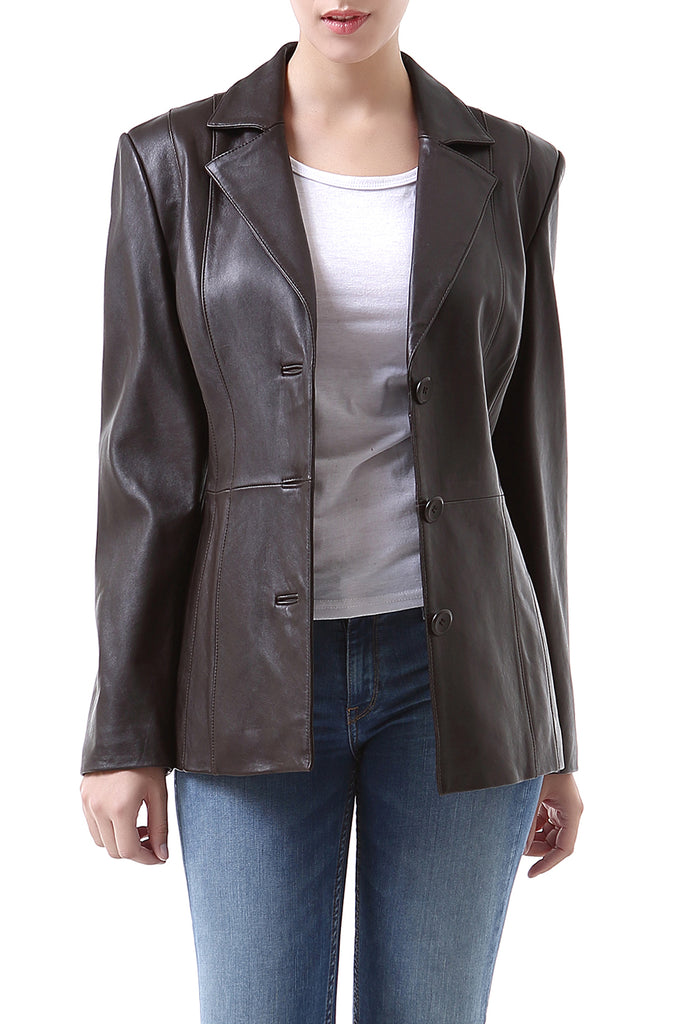 "BGSD Women's ""Crystal"" New Zealand Lambskin Leather Blazer - Petite"