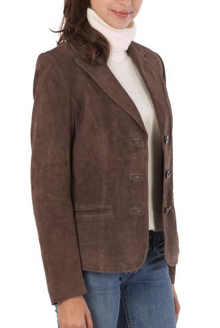bgsd womens heritage three button suede leather blazer 1