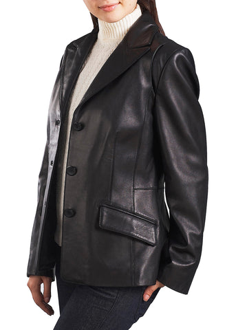 bgsd womens three button new zealand lambskin leather blazer