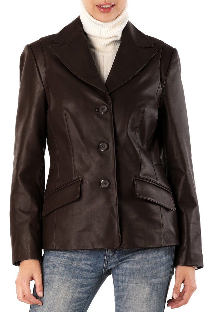 bgsd womens three button new zealand lambskin leather blazer 2