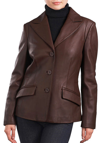bgsd womens three button new zealand lambskin leather blazer 1