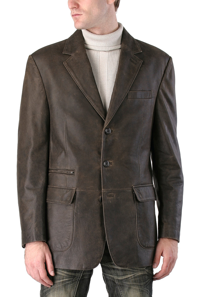 "BGSD Men's ""Mark"" Three-Button Distressed Cowhide Leather Blazer - Tall"