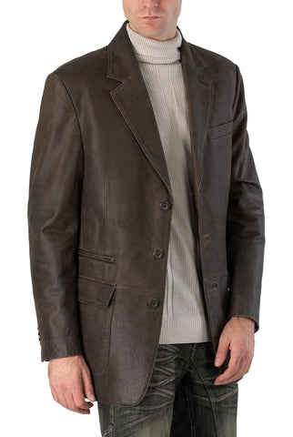 bgsd mens mark three button distressed cowhide leather blazer tall