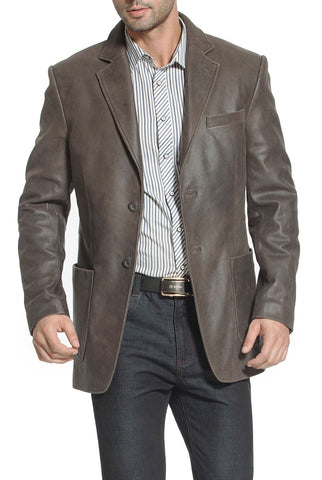 "BGSD Men's ""Eric"" Two-Button Distressed Cowhide Leather Blazer"