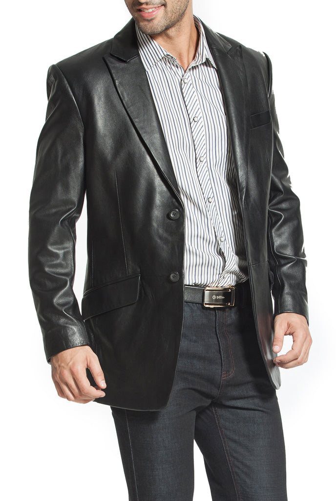"BGSD Men's ""Ben"" Two-Button Lambskin Leather Blazer"