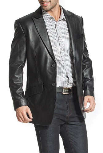 "BGSD Men's ""Ben"" Two-Button Lambskin Leather Blazer - Big & Tall"