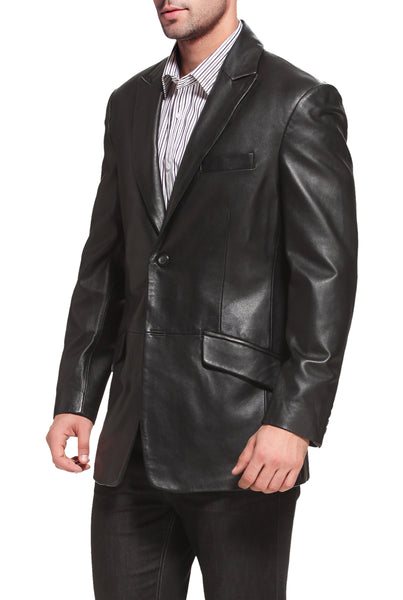 "BGSD Men's ""Ben"" Two-Button Lambskin Leather Blazer - Tall"