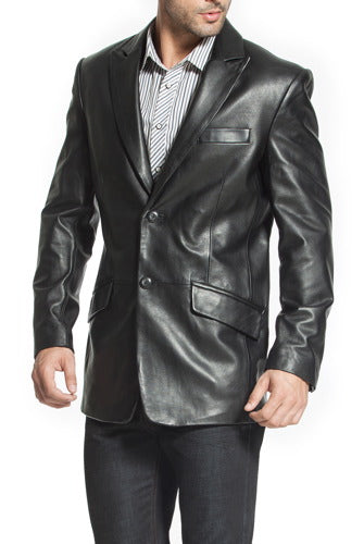 "BGSD Men's ""Ben"" Two-Button Lambskin Leather Blazer - Big"