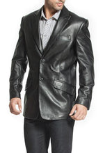 Load image into Gallery viewer, bgsd mens ben two button lambskin leather blazer short