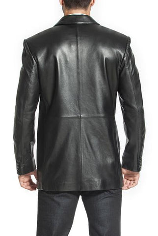 "BGSD Men's ""Ben"" Two-Button Lambskin Leather Blazer - Short"
