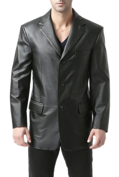 bgsd mens liam three button leather blazer tall