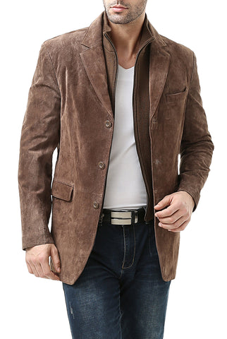 "BGSD Men's ""Brett"" Three-Button Suede Leather Blazer with Zip-Out Bib - Tall"