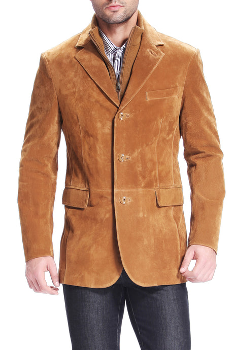 bgsd mens brett three button suede leather blazer with zip out bib tall 1