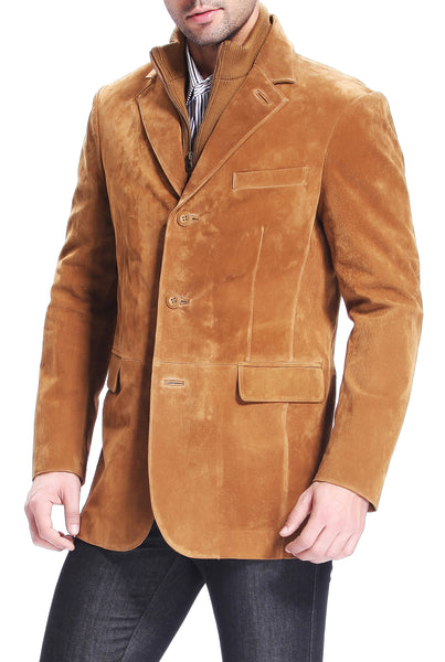 "BGSD Men's ""Brett"" Three-Button Suede Leather Blazer with Zip-Out Bib"