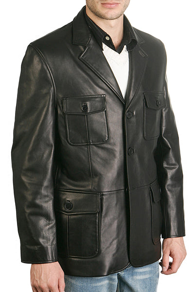 bgsd mens three button military style lambskin leather blazer tall