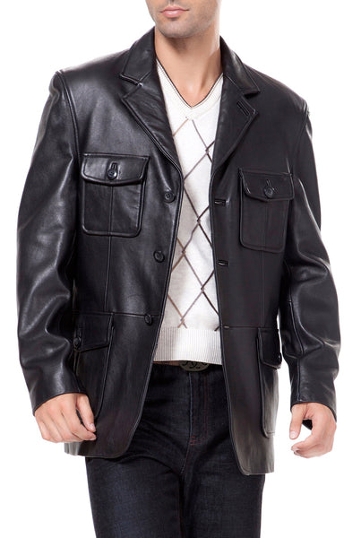 bgsd mens three button military style lambskin leather blazer