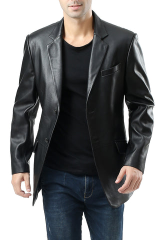 "BGSD Men's ""Benji"" One-Button New Zealand Lambskin Leather Blazer - Tall"