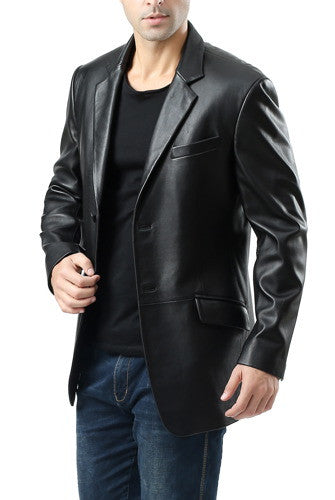 "BGSD Men's ""Benji"" Two-Button Lambskin Leather Blazer"