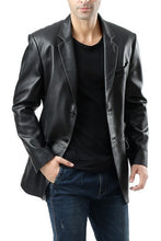 "Load image into Gallery viewer, BGSD Men's ""Benji"" Two-Button Lambskin Leather Blazer - Big & Tall"