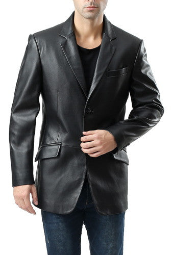 "BGSD Men's ""Benji"" One-Button New Zealand Lambskin Leather Blazer"