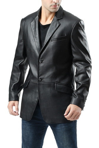 bgsd mens benji one button new zealand lambskin leather blazer tall