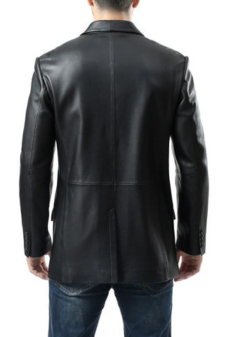 "BGSD Men's ""Benji"" Two-Button Lambskin Leather Blazer - Big & Tall"