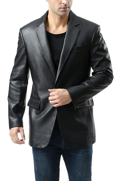 "BGSD Men's ""Nicholas"" Classic One-Button New Zealand Lambskin Leather Blazer - Tall"