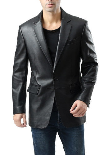 "BGSD Men's ""Nicholas"" Classic One-Button New Zealand Lambskin Leather Blazer - Big & Tall"