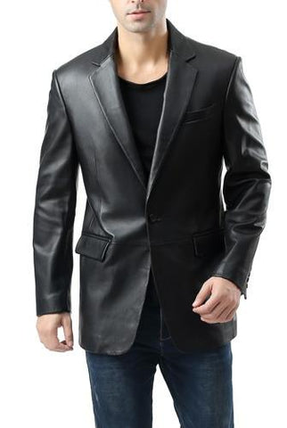 "BGSD Men's ""Nicholas"" Classic One-Button New Zealand Lambskin Leather Blazer - Short"