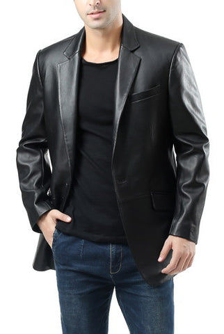 "BGSD Men's ""John"" 1-Button Lambskin Leather Blazer - Big & Tall"