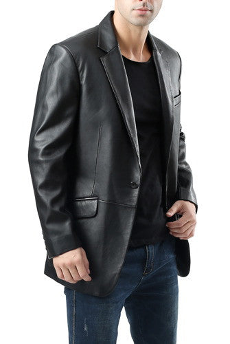 "BGSD Men's ""John"" 1-Button Lambskin Leather Blazer - Big"