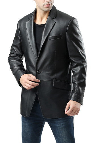"BGSD Men's ""John"" Two-Button New Zealand Lambskin Leather Blazer"