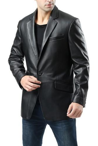 "BGSD Men's ""John"" Two-Button New Zealand Lambskin Leather Blazer - Short"