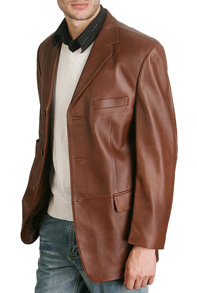 bgsd mens classic three button lambskin leather blazer tall