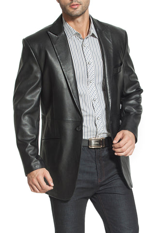 "BGSD Men's ""Judd"" One-Button Lambskin Leather Blazer - Big & Tall"
