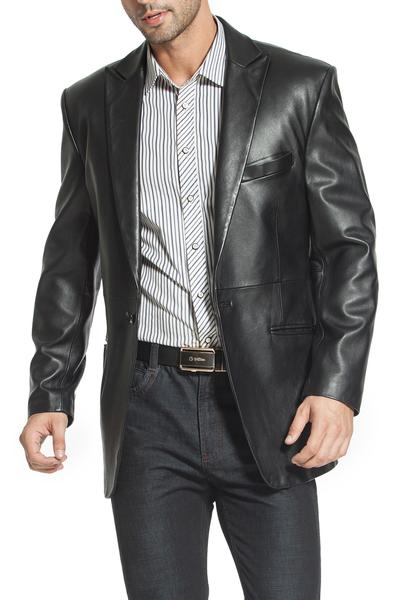 "BGSD Men's ""Judd"" One-Button Lambskin Leather Blazer - Short"