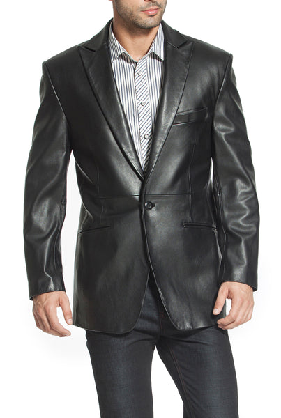 "BGSD Men's ""Judd"" One-Button Lambskin Leather Blazer - Big"