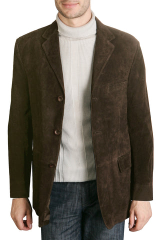 "BGSD Men's ""Robert"" Three-Button Suede Leather Blazer - Big"