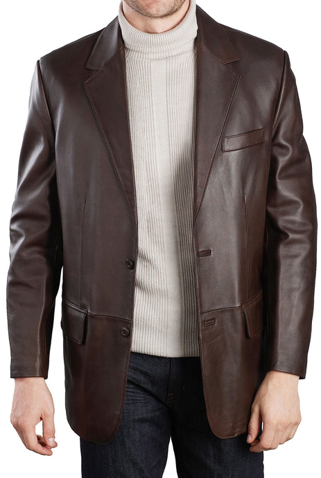 bgsd mens classic two button lambskin leather blazer 1