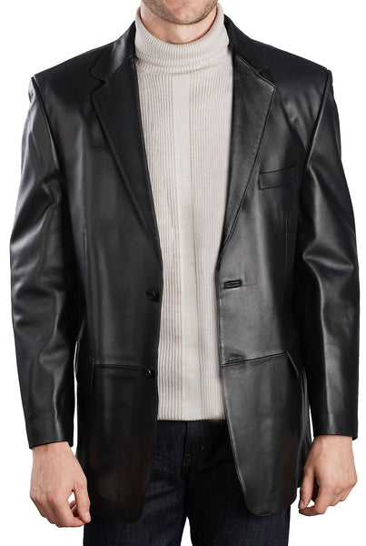 BGSD Men's Classic Two-Button Lambskin Leather Blazer