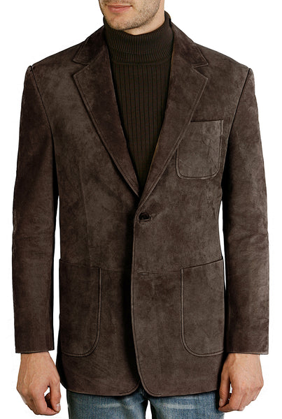 bgsd mens calvin two button suede leather blazer tall