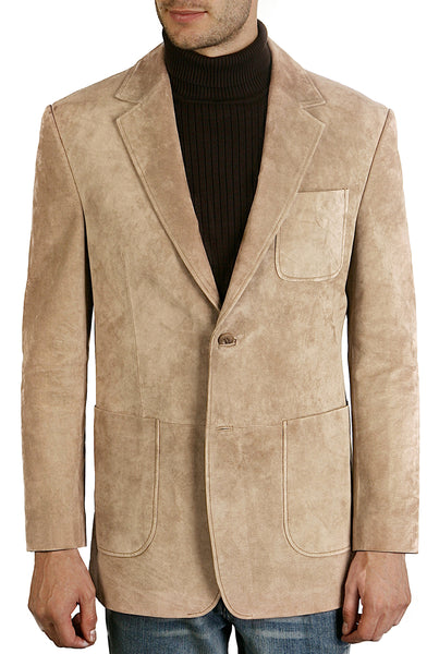 bgsd mens calvin two button suede leather blazer