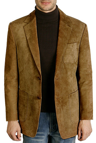 "BGSD Men's ""Calvin"" Two-Button Suede Leather Blazer - Tall"