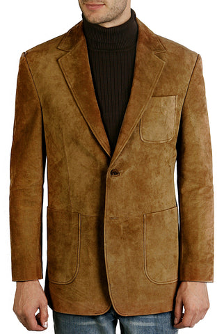 "BGSD Men's ""Calvin"" Two-Button Suede Leather Blazer"