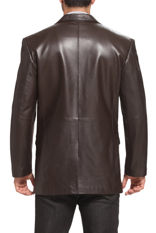 "BGSD Men's ""Richard"" Classic Two-Button New Zealand Lambskin Leather Blazer - Tall"