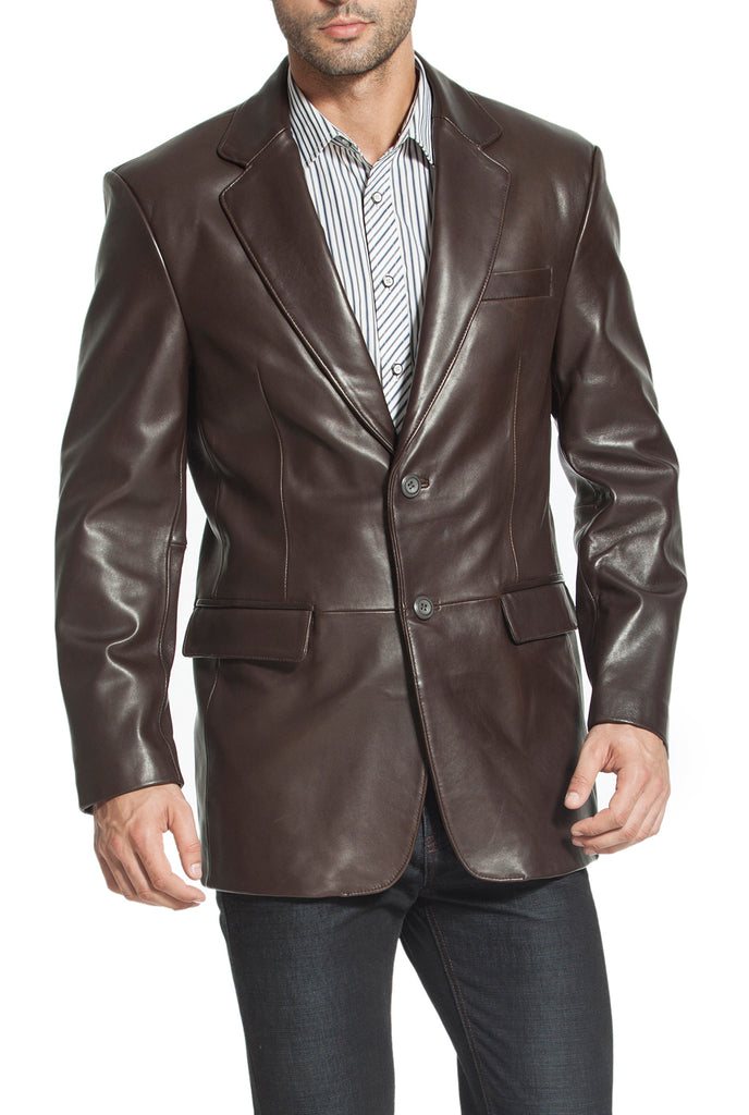 "BGSD Men's ""Richard"" Classic Two-Button New Zealand Lambskin Leather Blazer - Big & Tall"