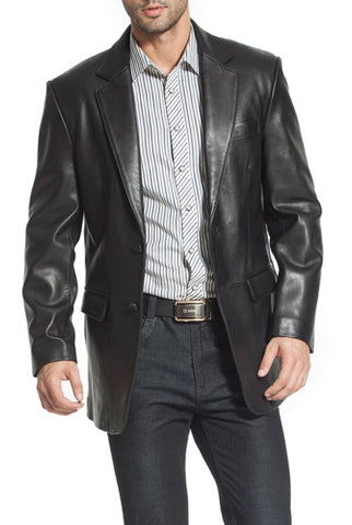 "BGSD Men's ""Steven"" Classic 2-Button Lambskin Leather Blazer - Tall"