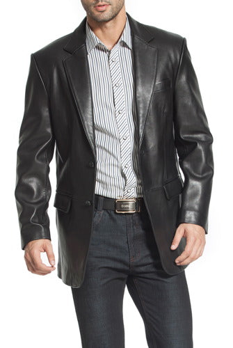 "BGSD Men's ""Steven"" Classic 2-Button Lambskin Leather Blazer"